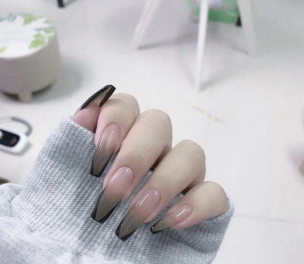 dropship Black French Style Handmade Fake nails/press on/Ballerina Shape