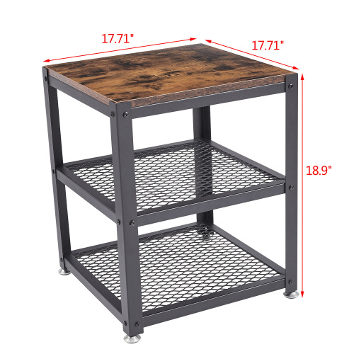 dropship Free shipping Easy Assembly End Tables with Wheels 3 Tier Heavy-Duty Steel Frame, Industrial Side Table for Living Room