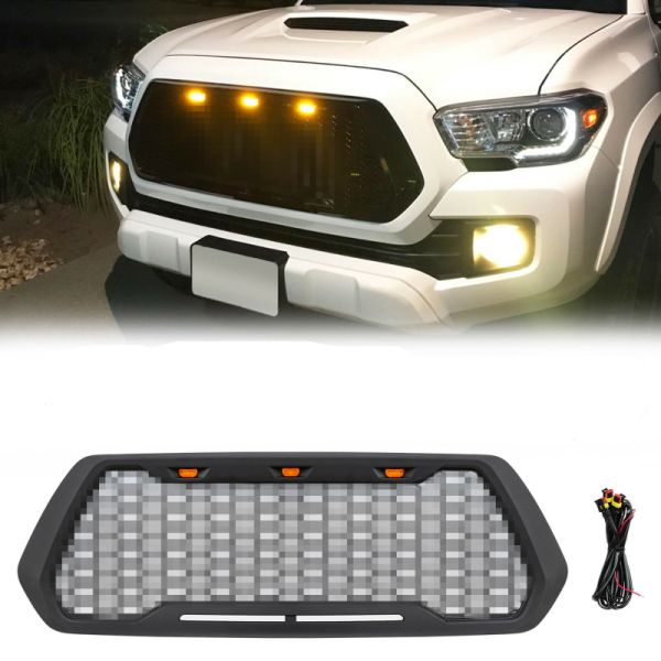 dropship Grille For 2016-2018 Toyota Tacoma ABS Mesh With 3 Amber LED Light Matte Black