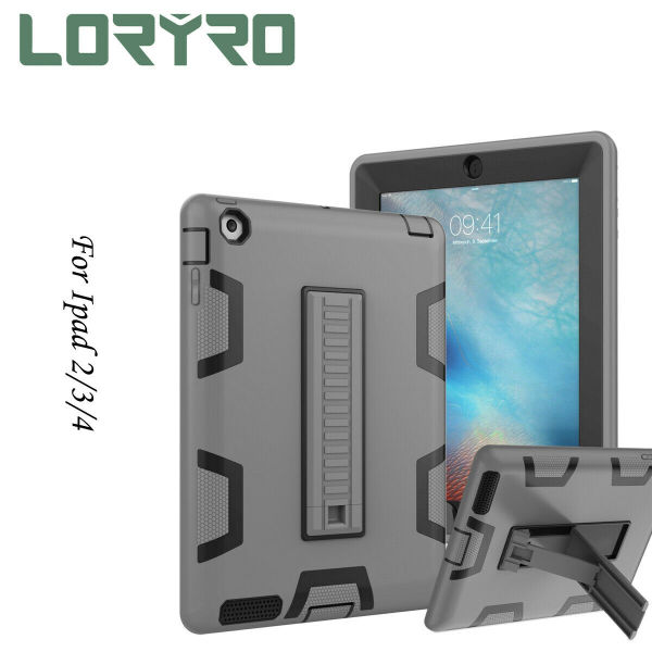 dropship Fashion Brandnew pad Case 9.7 Inch Kickstand Flat PC TPU Cover Protection Shockproof Cover Dark-Grey