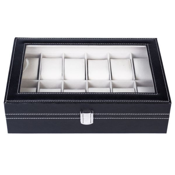 dropship 12 Slot Leather Watch Box Display Case Jewelry Organizer for Men & Women