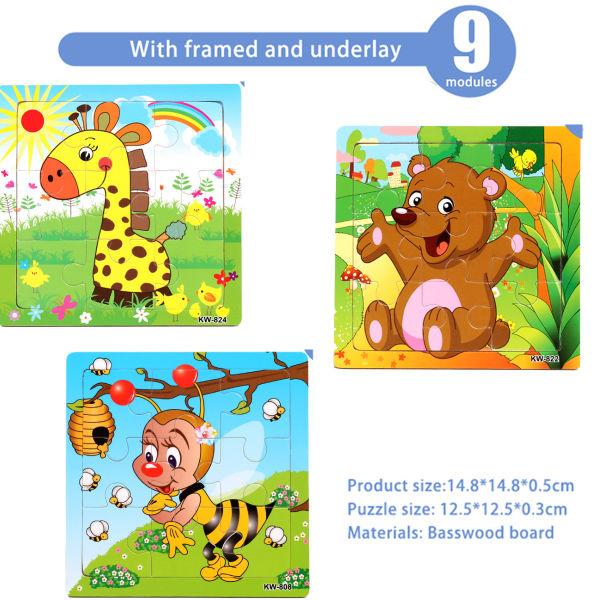 Dropship Wooden Jigsaw Puzzles Set for Kids Age 3-5 Year ...