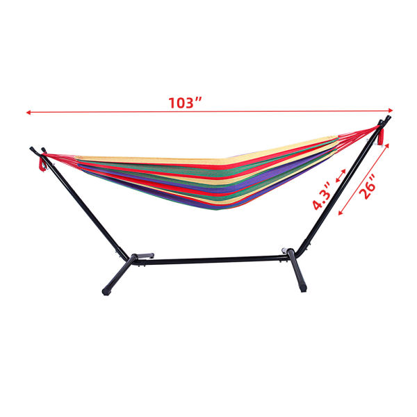 dropship Free sipping Hammock Set Steel Stand Outdoor Camping Hanging Swing Bed Stripe YJ