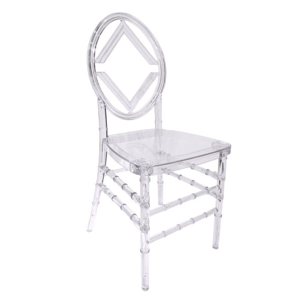 dropship Chinese Fashion Dining Room Furniture Stackable Plastic Crystal Resin Clear Banquet Chair 4 Pieces