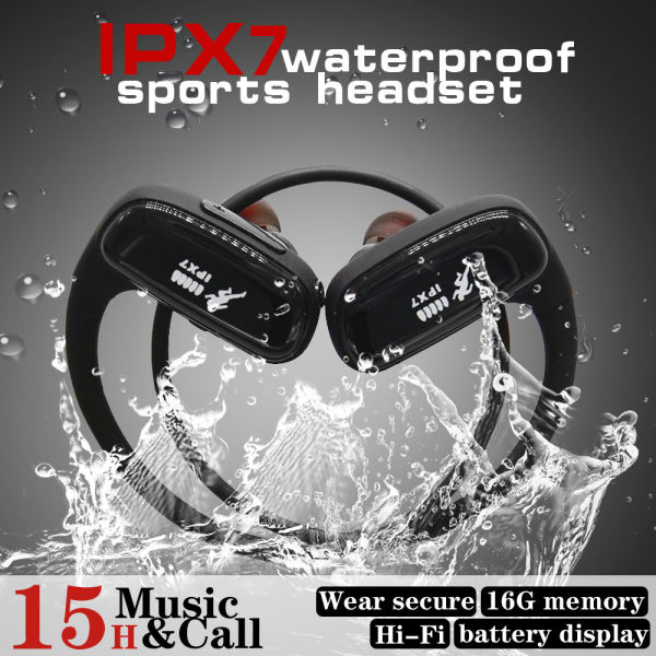 dropship CYBORIS 16GB Built-in Memory MP3 Player Bluetooth Headset Running Earphone IPX7 Waterproof Sports Wireless Stereo Earbud, Rear-mounted Dual Input headphones HIFI Sound Quality with Mic