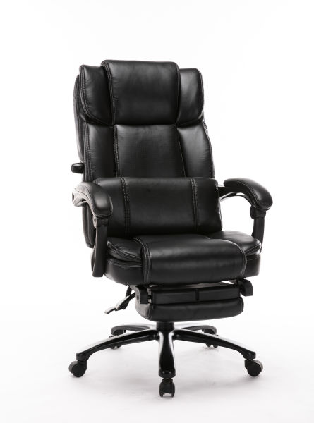 dropship Big and Tall Reclining Office Chair - High Back Executive Computer Desk Chair with Adjustable Built-in Lumbar Support, Angle Recline Locking System and Footrest, Thick Padding for Comfort