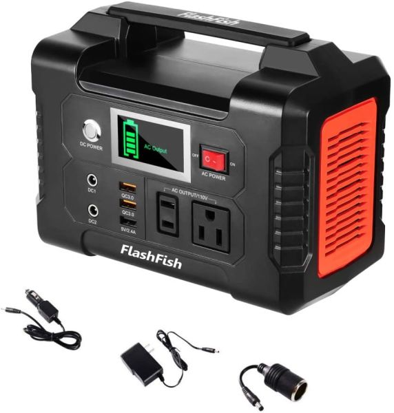 dropship 200W Portable Power Station, FlashFish 40800mAh Solar Generator with 110V AC Outlet/2 DC Ports/3 USB Ports, Backup Battery Pack Power Supply for CPAP Outdoor Advanture Load Trip Camping Emergency