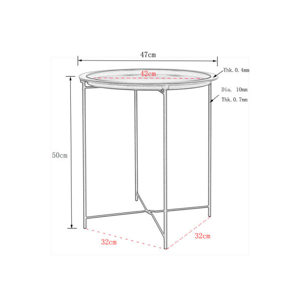 dropship Free shipping Folding Tray Metal Side Table, Sofa Table Small Round End Tables, Anti-Rust and Waterproof Outdoor or Indoor Snack Table, Accent Coffee Table YJ