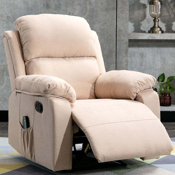dropship Home Overstuffed Pillow & Armrest Recliner Chair Sofa with 6 Point Remote Control Massage