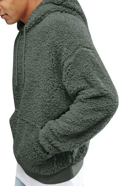 dropship Autumn and winter men's Sherpa pullover hoodie sweatshirt pocket coat fuzzy fluffy jacket