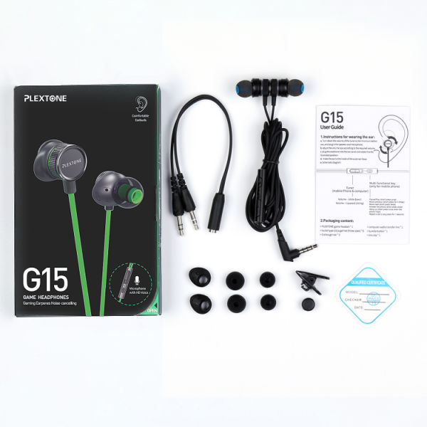 dropship PLEXTONE G15 Comfortable Wired Controller Game Earbuds Strong Bass Effect External Cochlear Structure 10g Light Earplugs