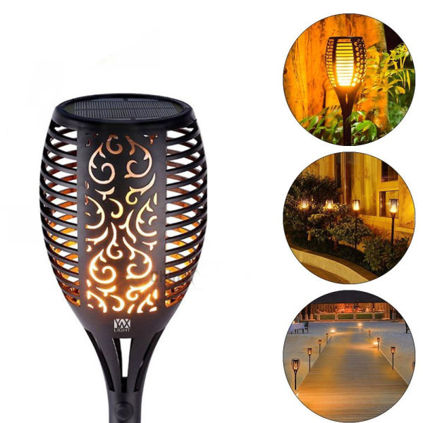 dropship Wireless Waterproof LED Solar Lights Dancing Flames Flickering Torches Lantern (2 pack)