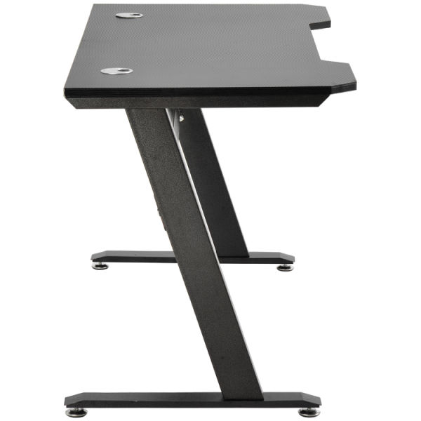 "dropship Free shipping Gaming Desk, Z-Shaped Computer Desk 47.2 ""W x 23.6"" D Office Desk, Black Gamer Workstation, with 2 cable management holes"