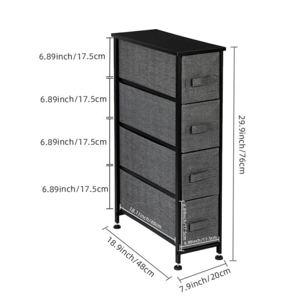 "dropship Narrow Dresser, Vertical Storage Unit With 4 Fabric Drawers, Metal Frame, Slim Storage Tower, 7.9"" Width, For Living Room, Kitchen, Small Space, Gap, Brown"