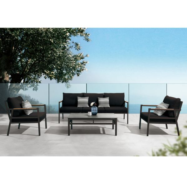 dropship Higold - Gloria 4 Pieces Conversation Sofa Set for Outdoor Using, with Grade A Teak, Matte Charcoal Aluminum Frame Finish, Black Pillows&Cushions Included