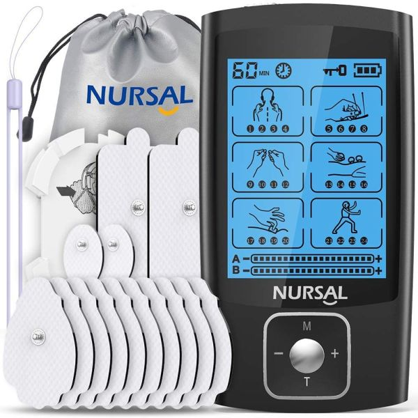 dropship NURSAL Dual Channel EMS TENS Unit 24 Modes Muscle Stimulator for Pain Relief & Muscle Strength,14 Pcs Electrode Pads