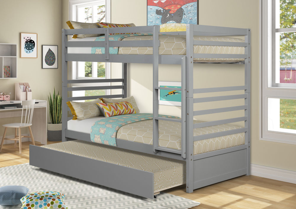 FULL FULL BUNK BED WITH TRUNDLE - GRAY TWinch TWinch BUNK BED WITH TRUNDLE - GRAY