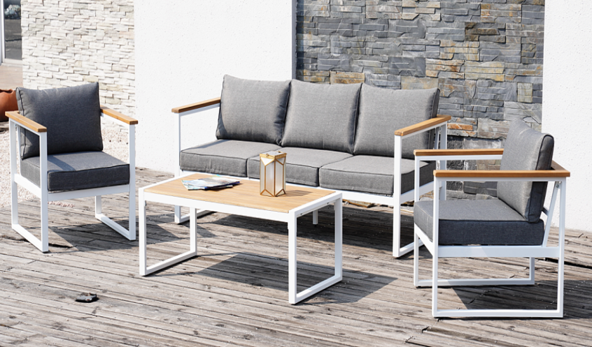[Only for Pick-up]Grand Patio Rickywood Outdoor Patio Seating Group, Patio Conversation Sofa Set of 4PC, Aluminum Frame + Solid Wood Chair Sets & Coffee Table, Washable Light Gray Outdoor Cushions