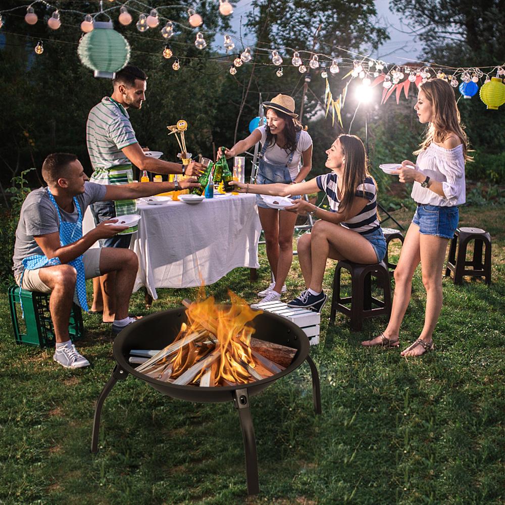 "22"" Iron Fire Pit Bowl Outdoor Backyard Patio Garden Burning Heater Black"