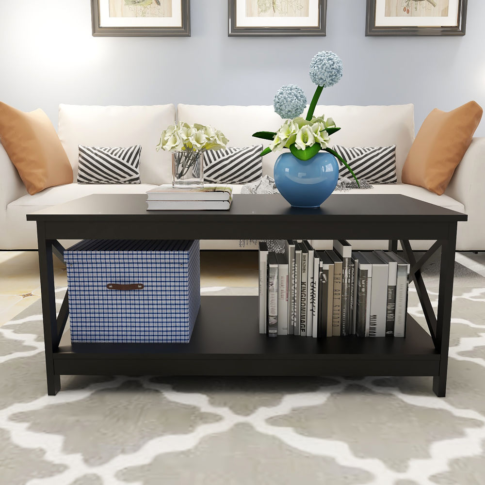 Free shipping Coffee Table Oxford End Table Side Table,Black