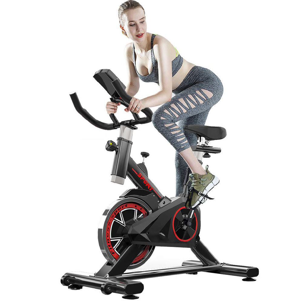 Indoor Exercise Bike, Indoor Cycling Stationary Bike Belt Drive with LCD Monitor