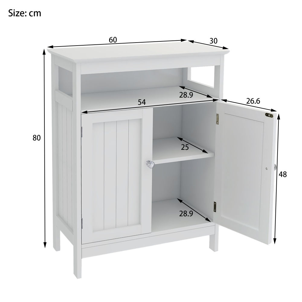 Free shipping Home Bathroom Floor Cabinet with Double Shutter Doors and Adjustable Shelves, Freestanding Bathroom Storage Cabinet with Adjustable Shelf