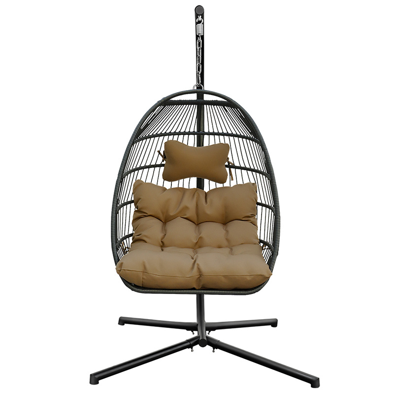 Mid Century Rattan Chair, X Shaped Stand Pe Rattan Waterproof Fabric Pillow Egg Swing Chair Qsr Unlimited