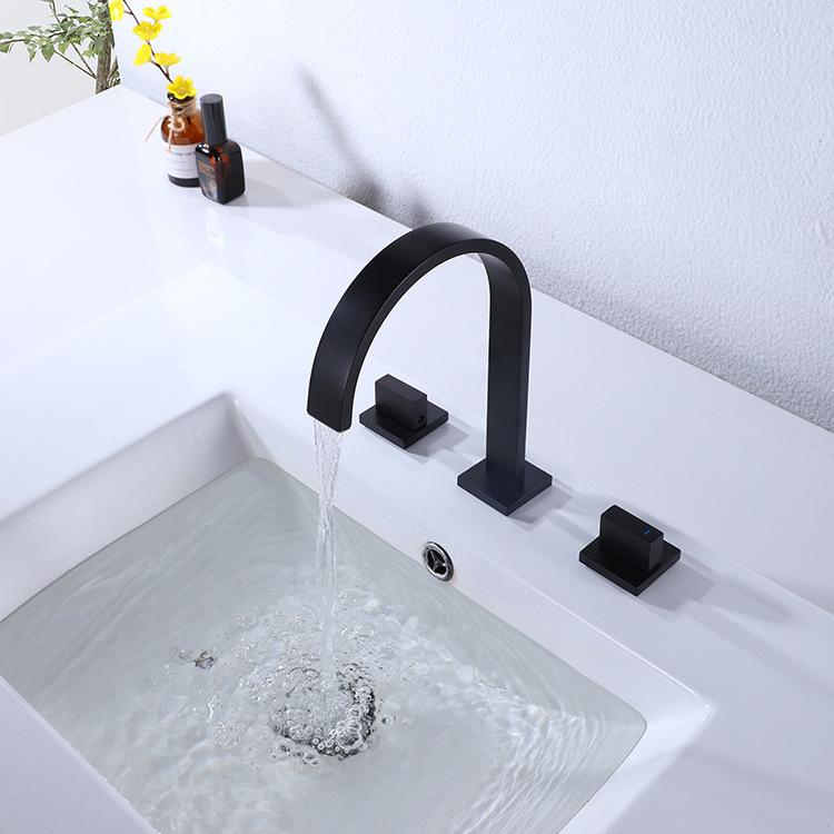 dropship RBROHANT Black Bathroom Faucet 2 Handles 3 Holes Bathroom Sink Faucet 3 Pieces Basin Faucets