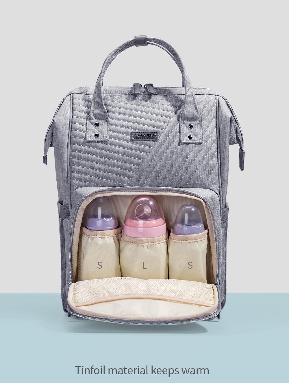Dropship Sunveno Mochila de moda para pañales Mochila acolchada Grande Mamá Maternidad Bolsa de enfermería Mochila de viaje Cochecito Bolsa de bebé Pañal Cuidado del bebé