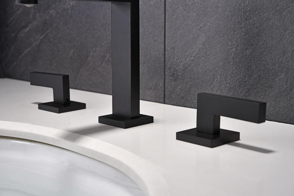 dropship RBROHANT Grifo de baño generalizado, 2 manijas, 3 orificios, 8 pulgadas, grifos para lavabo de tocador, grifos mezcladores modernos de latón macizo, negro mate RBF65011MB