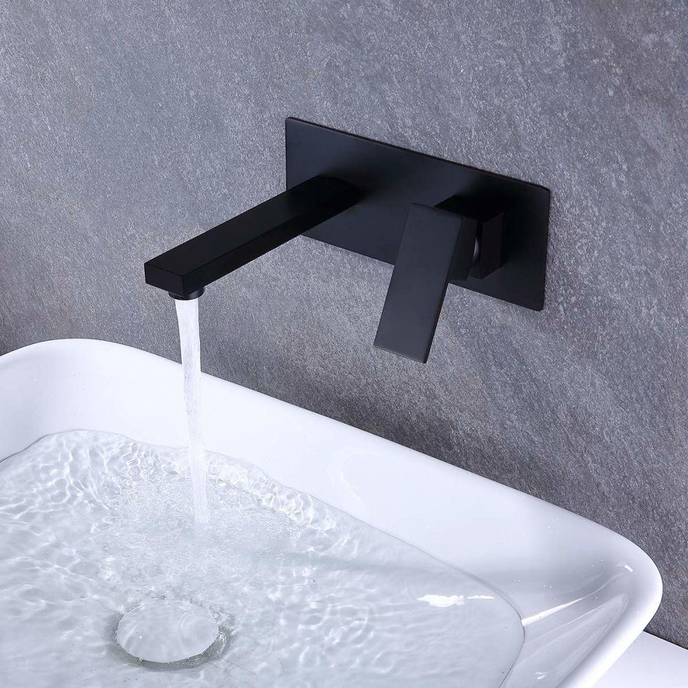 dropship RBROHANT Grifo de montaje en pared, grifos de bañera de baño, grifos de latón macizo para fregadero, lavabo, mezclador, para bañera (válvula empotrada incluida) RWBF65003MB