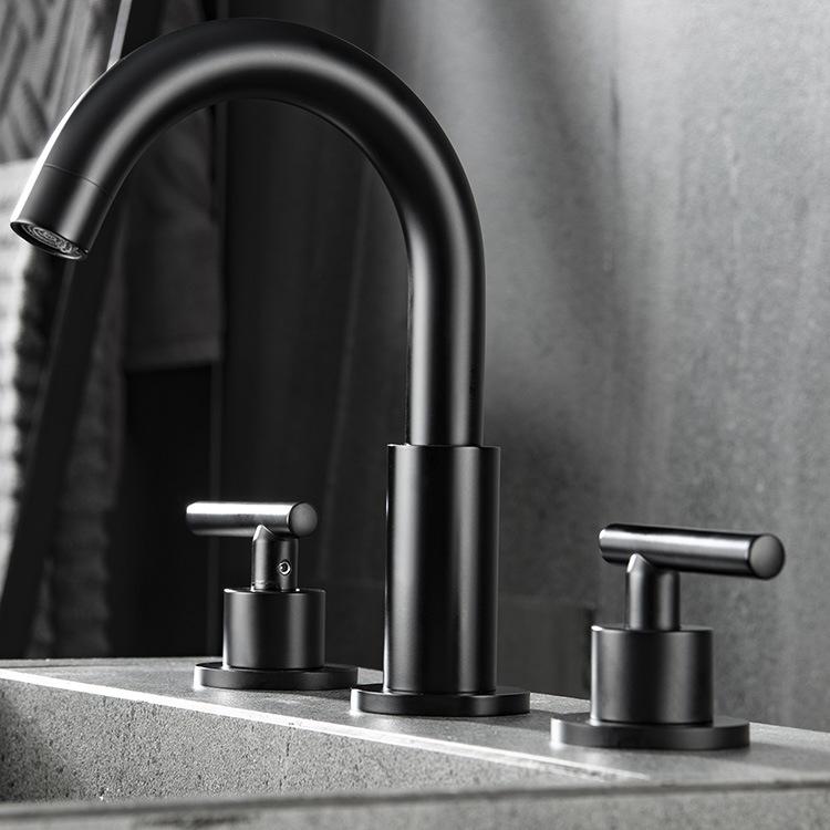 dropship RBROHANT Matte Black Bathroom Faucet, Double Handle Wall Mounted Bathroom Basin Faucet RBF61006MB