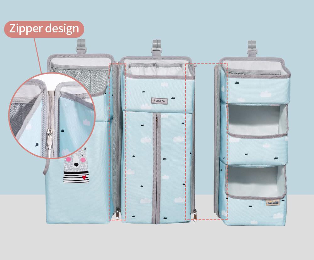 Dropship Sunveno Baby Storage Organizador Cuna Colgante Bolsa de almacenamiento Caddy Organizador para bebé Essentials Juego de cama Bolsa de almacenamiento de pañales