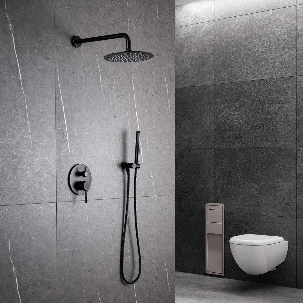 dropship RBROHANT Grifos de ducha de color negro mate, montaje en pared de baño, sistema de cabezal de ducha de lluvia de 10 pulgadas con dispositivo de mano, con cuerpo de válvula de ducha de equilibrio de presión y molduras