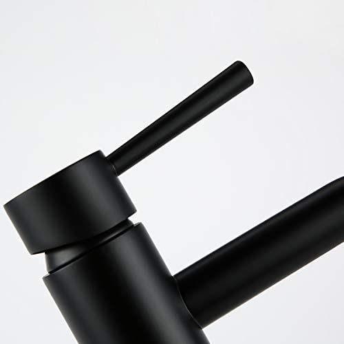 Dropship RBROHANT grifo de baño de un solo orificio, grifos de lavabo de tocador de una manija negra mate Grifos de lavabo de latón macizo