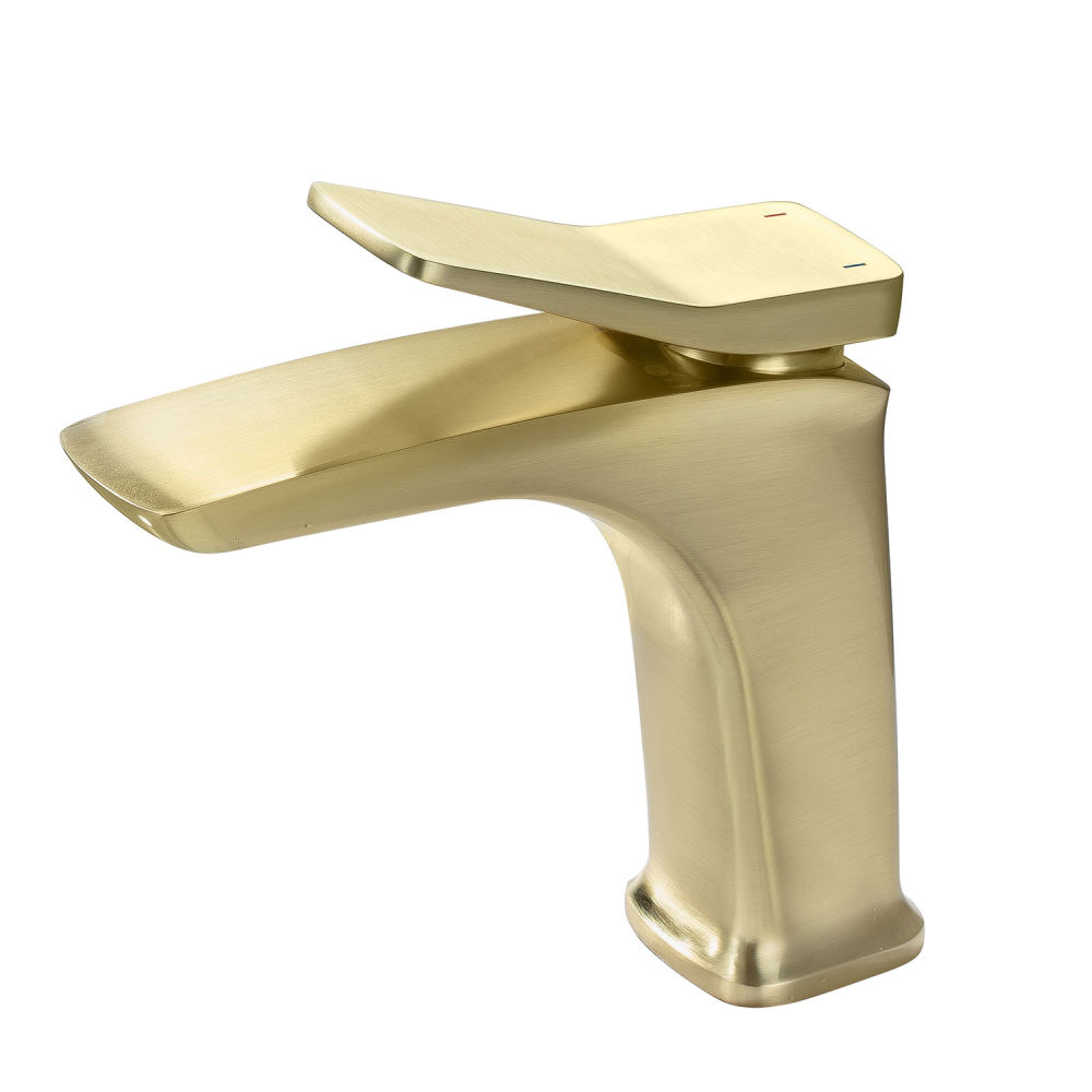dropship RBROHANT grifo de baño de un solo orificio, grifos de lavabo de tocador cuadrados de una manija, grifos mezcladores de lavabo de latón macizo modernos