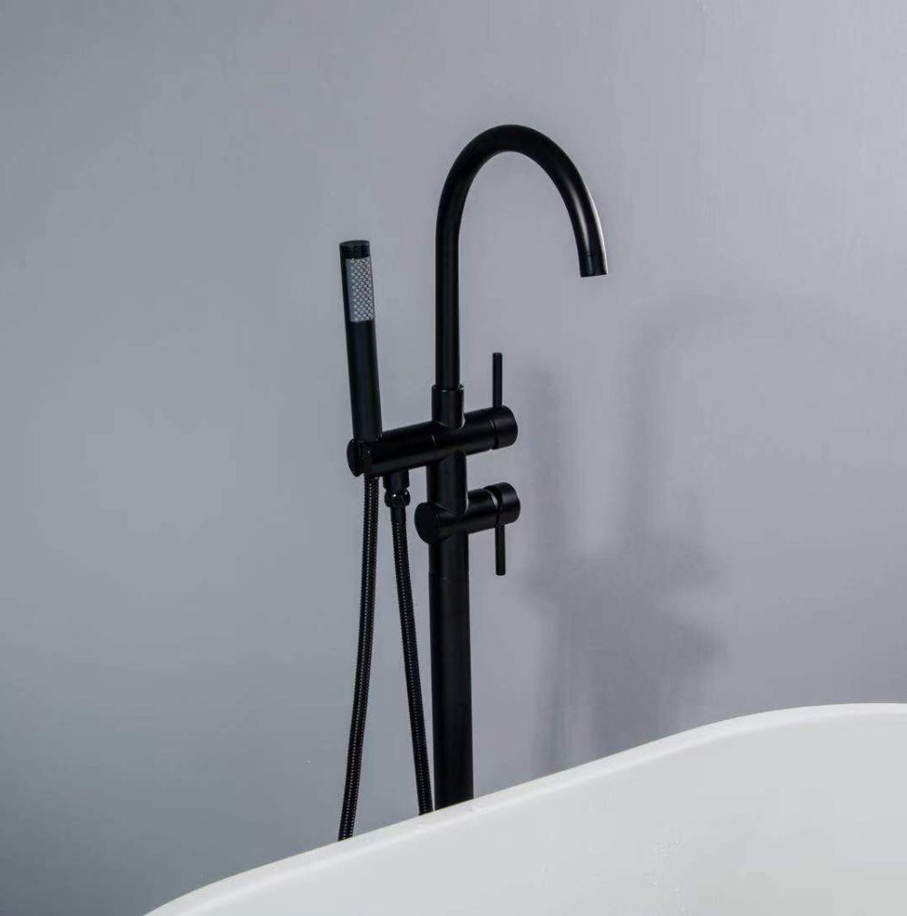dropship RBROHANT Freestanding Bathtub Faucet Tub Filler Matte Black, Floor Mounted Faucets Solid Brass Single Handle with Hand Shower RBBF61001MB (Rough in valve included)