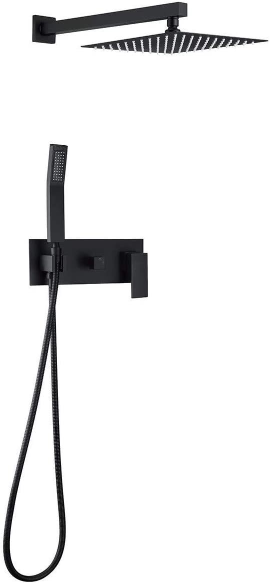 dropship RBROHANT Sistema de ducha de latón macizo negro mate, accesorios de ducha de lluvia de alta presión Juegos completos de grifos, mezclador de lluvia de lujo combinado de cabezal de ducha negro de 10 pulgadas (válvula incluida) RCS85003B