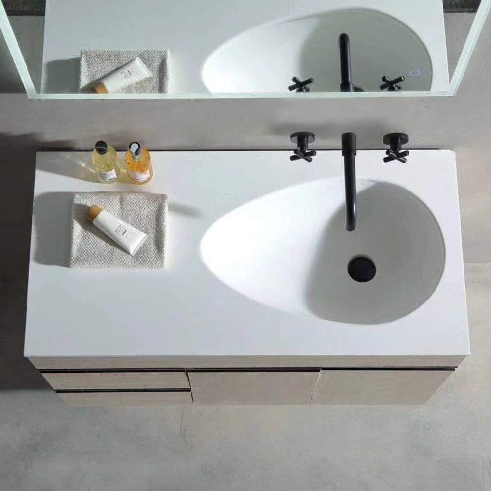 dropship RBROHANT Grifo de baño de montaje en pared, grifos de lavabo de recipiente doble negro mate, grifos mezcladores de latón macizo de dos manijas con boquilla y válvula rugosa incluida RBF60002MB