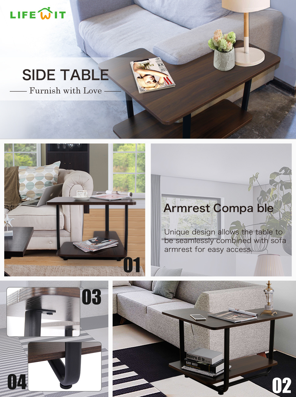 Shop for lifewit l shape sofa table 2 tier couch side end table huge it fits with nearly any sofas and chairs for multiple configurations premium material constructed out of premium carbon steel with environmental e1 board watchthetrailerfo