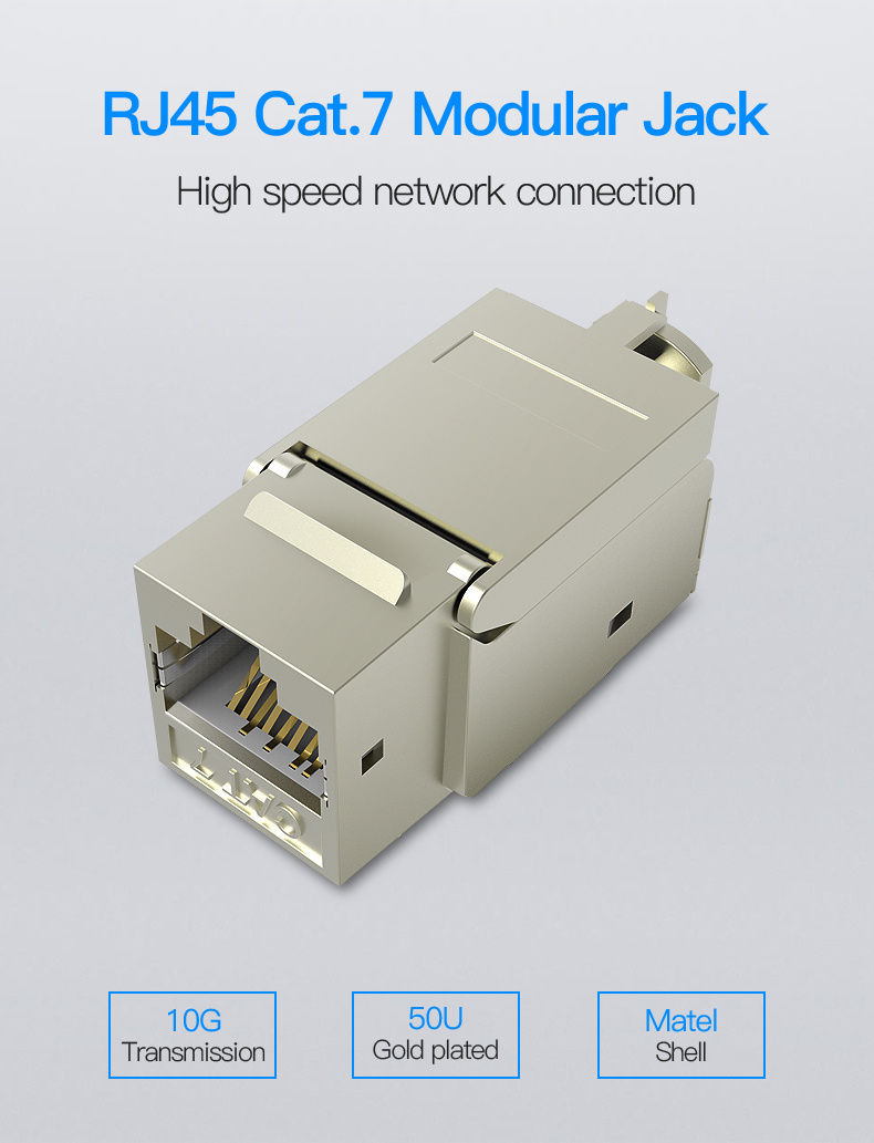 Shop For Vention Cat 7 Rj45 Ethernet Modular Keystone Jack 50u Gold Wiring 2 Put The Cable Embed Into Slots Of Network Crystal Head 3 Cut Off Extra 4 Open Lock Latch About Adapter
