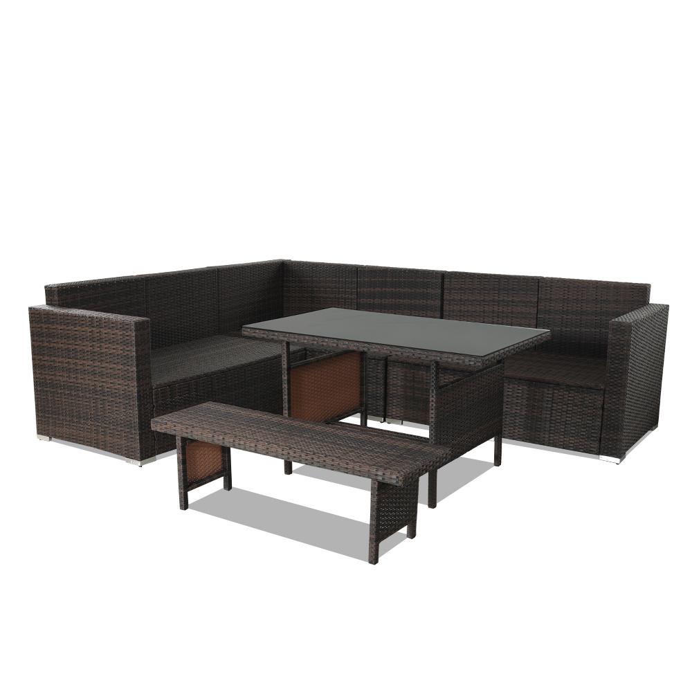Brilliant Shop For Patio Furniture Sets 5Pcs Brown Pe Rattan Sofa Set Download Free Architecture Designs Aeocymadebymaigaardcom