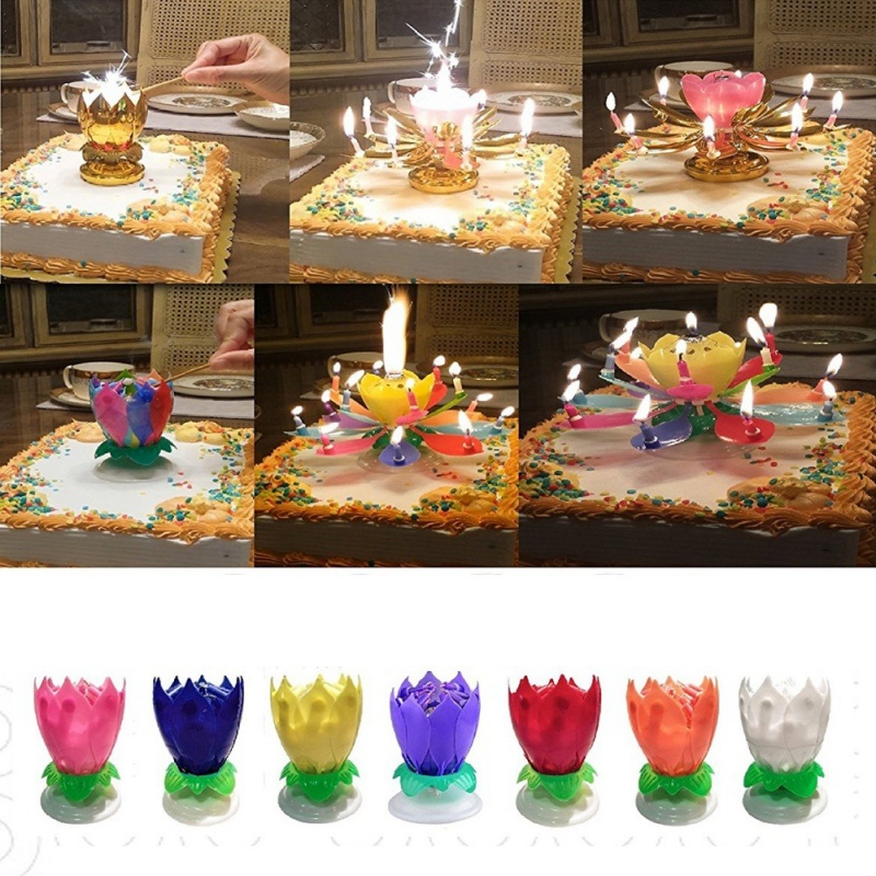 3 Pack Birthday Candles Multi Color Musical Candle Lotus Rotating Flow Play Music Jpg