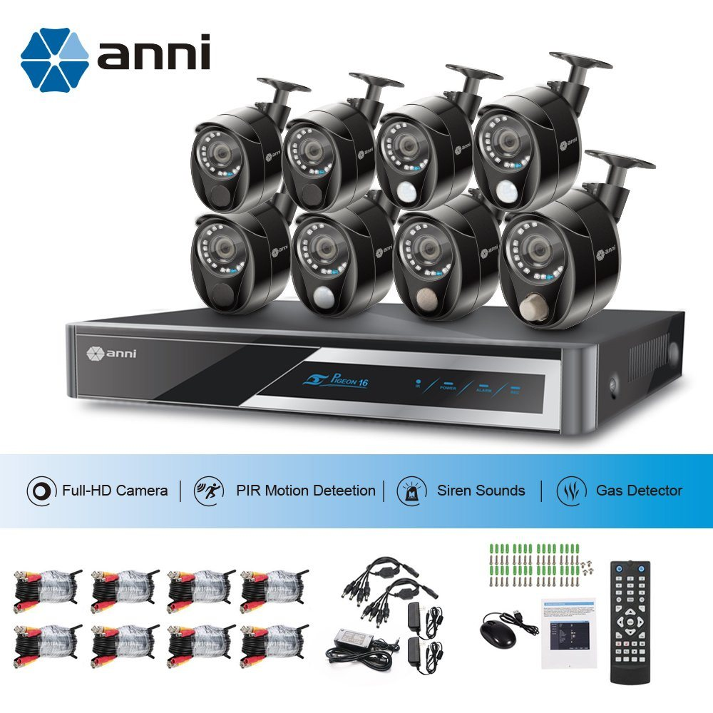 Shop For Anni 16 Channel Security Camera System 1080n Digital Video Remote View Mobile Dvr With Shock Sensor And Wifi Power Adapter Packaging