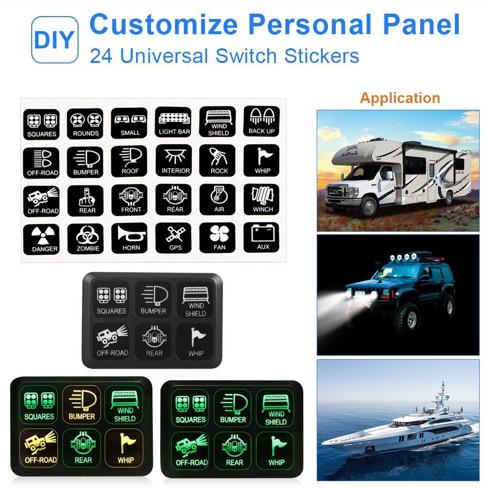 Shop For Universally 6 Gang Switch Panel Electronic Relay System Fuse Box 24 Stickers 2 Screws Mounting Bracket Tape 3 And Har 4 Self Locking Cable Tie Terminals Quick Splice