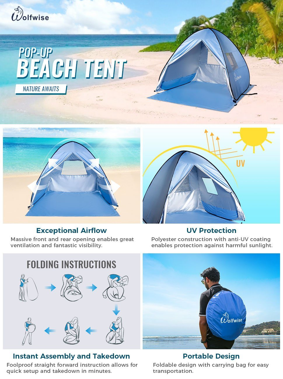 Shop for WolfWise Portable UPF 50+ Protection Easy Pop Up Beach Tent ...