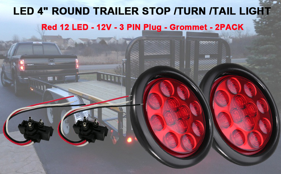 Shop For New Sun 2pc 4 U0026quot  Round Led Trailer Stop Turn Tail Lights 12 Diodes Red Led Sealed