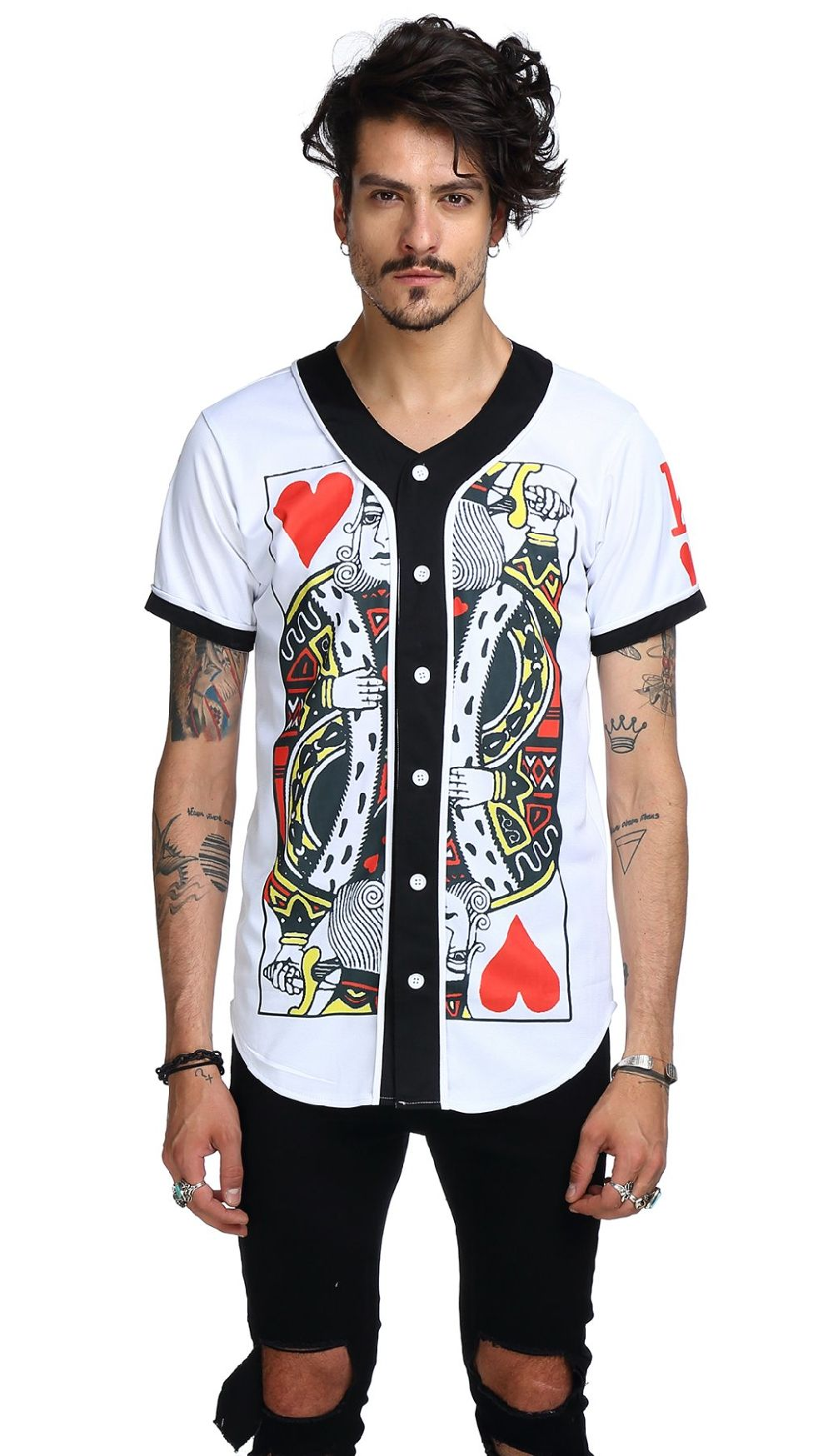Shop For Pizoff Short Sleeve Arc Bottom 3d King Of Heart Print