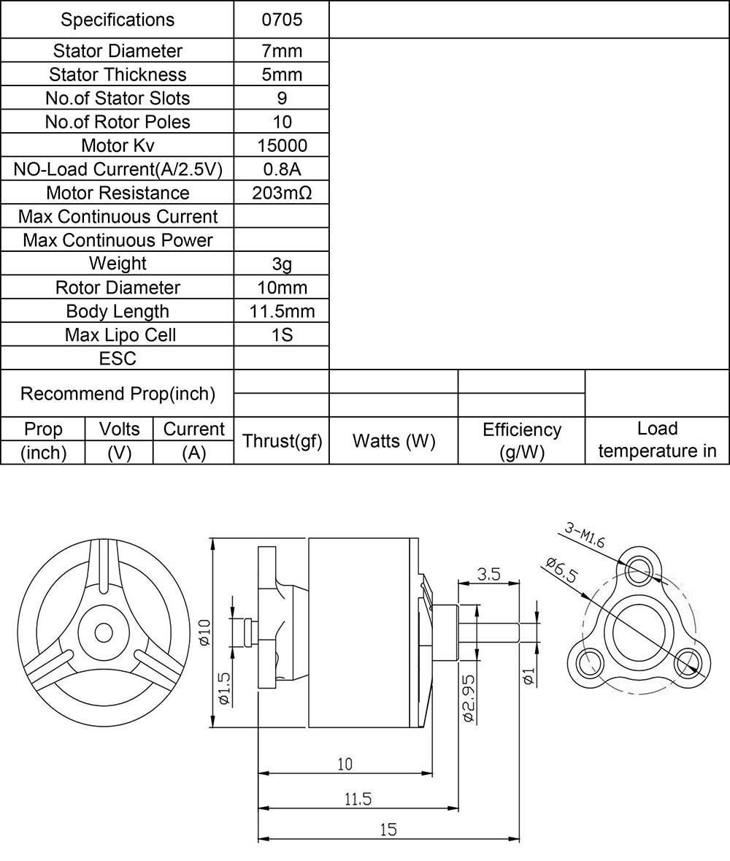 Item No R0705 KV15000 Brushless Motor Stator Diameter 7mm Thickness 5mm Weight 3g Shaft 15mm KV Rpm V 15000