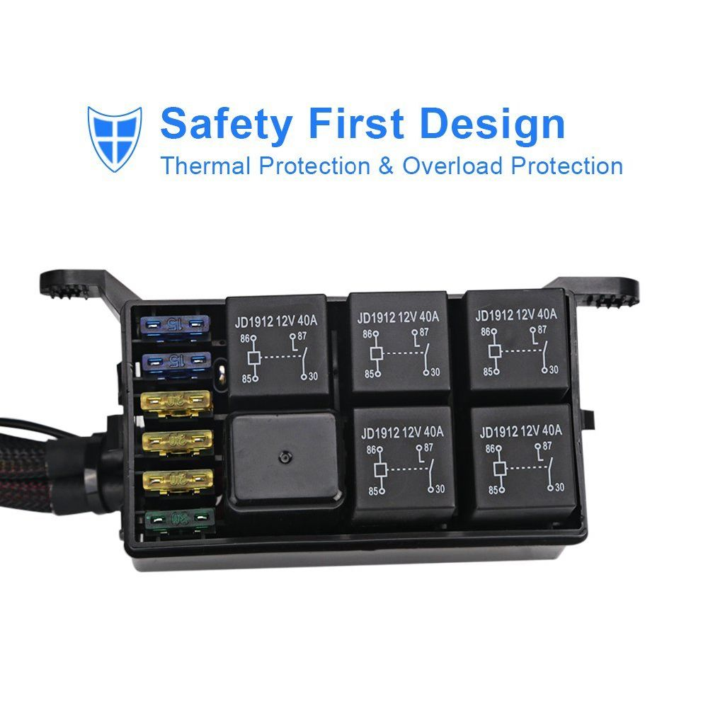 Shop For Universally 6 Gang Switch Panel Electronic Relay System Details About 12v 40a Control Wiring Harness Kit Led 24 Stickers 2 Screws Mounting Bracket Tape 3 And Fuse Box Har 4 Self Locking Cable Tie Terminals Quick Splice